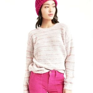LUCKY BRAND Marled Crew Neck Sweater Pink Multi
